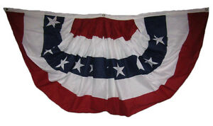 3x6 USA American Pleated 100% Cotton Sheeting 2ply Flag 3' x 6' Bunting Fan