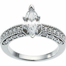 1 ct total 0.72 ct Marquise cut Diamond Engagement 14k White Gold Ring,#301