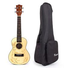 Kmise Solid Spruce Concert Ukulele Uke Acoustic Hawaii Guitar 23 Inch W/Bag