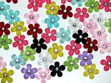 CandyCabs 10 Tiny Glitter flowers Mixed Col Cabochon Flatback Kawaii DIY Crafts