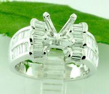 1.52 ct 18k Solid White Gold Semi Mount Ladies Natural Diamond Ring baguette