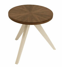 Beistelltisch Kaffeetisch TABLET 45cm rund, Nußbaum furniert, Füsse Esche weiss