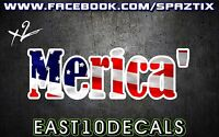 MERICA FLAG vinyl bumper sticker decal girly funny usa wall