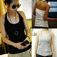 Cotton Blend Backless Solid Tops for Women