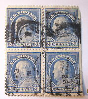 Classic 1914 U.S. STAMPS ~ 20¢  Block of Four SCOTT #419 Ben Franklin Perf 12