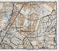 Karow Blankenburg Malchow Buchholz 1935 orig Teil-Stadtplan Tegel-Süd Gartenfeld