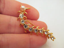 *Signed Lia Sophia Gold Tone & Crystal Centipede Pin Brooch Simulated Pearl