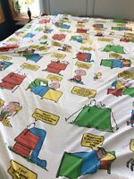 """Vintage 71 Snoopy Charlie Brown Peanuts Gang """"Happiness Is"""" Twin Size Sheet Set"""