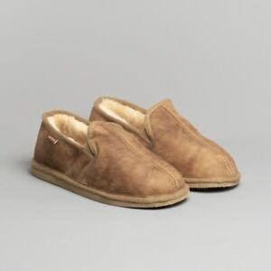Mens Genuine Sheepskin Slippers Shepherd Model Bosse Antique Cognac