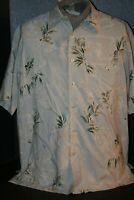 Tori Richard Honolulu 100% Silk Men's (L) Seafoam Fern Print Hawaiian Shirt