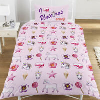 Emoji Unicorn And Mermaid Pink Aqua Single Duvet Set  Official Licensed Product