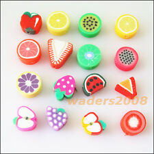 30 New Charms Handmade Polymer Fimo Clay Fruits Flat Spacer Beads Mixed 10mm