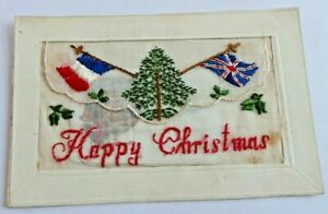 """UNPOSTED  WW 1 SILK POSTCARD """"HAPPY CHRISTMAS"""" WITH INSERT CARD"""
