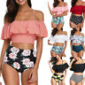Women Two Pieces Bathing Suits Top Ruffled With High Waisted Bottom Bikini Set