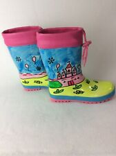 Via Pinky Rain Boots Girls Size 4  Colorful Hand Painted