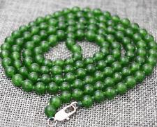 """New 6mm dark green emerald round Gemstone Beads Necklace 36"""""""