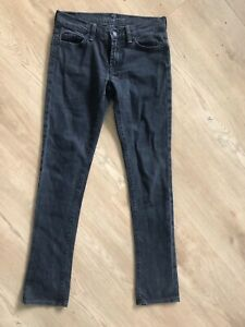 Seven For All Mankind Washed Black Skinny Straight Jeans 27 fit 8 XS S