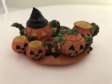 Vintage Halloween Witch Pumpkin House Miniature Resin Tea Set