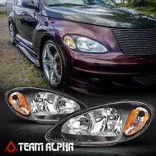 Fits 2001-2005 Chrysler PT Cruiser [Black/Clear] Amber Corner Headlight Headlamp