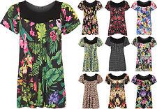 Short Sleeve Scoop Neck Floral Tunic, Kaftan Women's Tops & Shirts