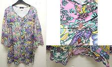 NEU Übergröße schickes Damen Long Shirt Tunika toller Ausschnitt u.Farbkom Gr.62
