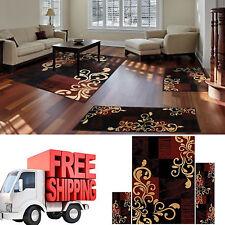 Area Rug Set 3 Piece Red Carpet Living Room Bedroom Modern Contemporary Large