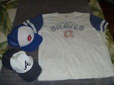 Lot Of 3 Atlanta Braves Baseball T Shirt Cap Hat Snapback The Franchise Fitted
