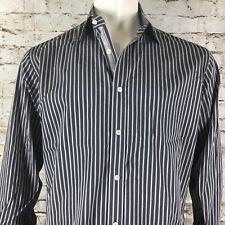 English Laundry Gray Striped Flip Cuff Men's 16.5 32/33 Long Sleeve Shirt