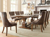 MERRA 9pcs Traditional Brown Dining Room Furniture Set Rectangular Table Chairs