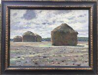 Impressionist Fritz Köhler 1887-1971 Weimar Landschaft mit Heumieten 1912 67x88