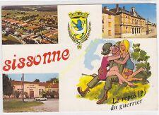 CP 02150 SISSONNE LE CAMP LE FOYER DU SOLDAT L'HOTEL DE VILLE BLASON HUMOUR