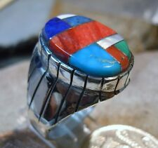 Mens Silver Turquoise Spiny Oyster Stone Inlay Ring Navajo Ray Jack size 11 3/4