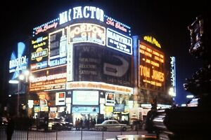 35mm Kodachrome Slide, Piccadilly Circus At Night, Neon Advertising, Lights 1963