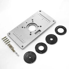 Aluminum Router Table Insert Plate + 4 Rings For Trimmer Woodworking Bench Table