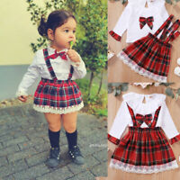 Ex Store Baby Girls 3 Piece Tartan Pinafore Dress Top /& Tights Outfit 12 18 24