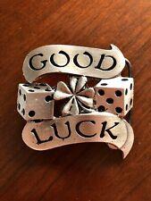 Good Luck Casino Dice Gambler Four Leaf Clover Metal Unisex Men's Belt Buckle
