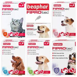 BEAPHAR Spot On Flea Tick Treatment CAT & DOG S M L XL - 1 4 6 Pipettes FIPROTEC