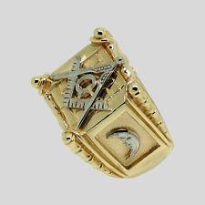 Handmade Masonic 14K Yellow and White Gold Ring Freemason Mason Size 12 UNIQABLE