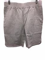 "Denim & Co. Women's French Terry Pull-On Shorts - 11"" Inseam Grey Medium Size"