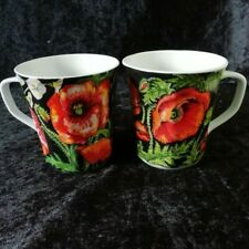 Chodziez Vintage Red Poppy Mugs Made In Poland Ceramic Pair Remembrance