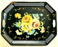 Vintage Hand Painted Floral Tole Tray 20x16 Pierce Edge Black Colorful Tray