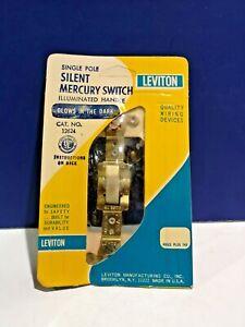 Leviton IVORY Single POLE Glow-in-Dark Toggle Switch MERCURY Silent 12624-I NEW