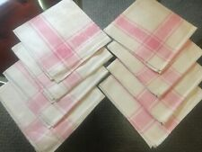 8 Vtg Damask Cloth Napkins Pink Pink & White Floral