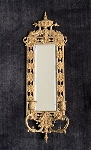 Neoclassical Style Wall Mirror / Candle Wall Sconce - Antique Gilt Metal ~ Fish
