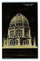 Postcard Baha'i Temple, Wilmette IL at night L35
