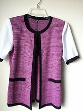 NWT $388 Pink/Black Misook White Short Sleeve Heritage Fit Women Cardigan SM XS