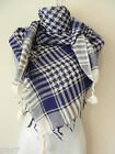 Dark Blue White Shemagh Head Scarf Neck Wrap Arafat Keffiyah Desert Cover Shawl