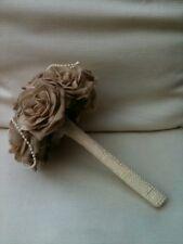 VINTAGE BEIGE ROSES PEARLS BRIDES WEDDING FLOWERS BOUQUET