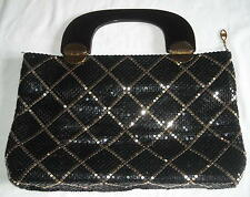"""Fabulous One of A Kind Vintage Black & Gold 13""""X9"""" Mesh Bag Ships Free to USA"""