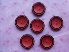 6 RED & BLACK LAYERED CONCAVE SHAPE VINTAGE CASEIN BUTTONS KNIT SEWING NOS 27mm